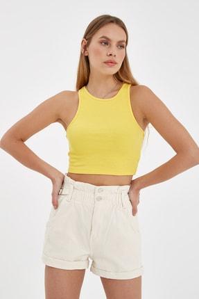 Nisan Triko Sarı Fitilli Kolsuz Crop Top