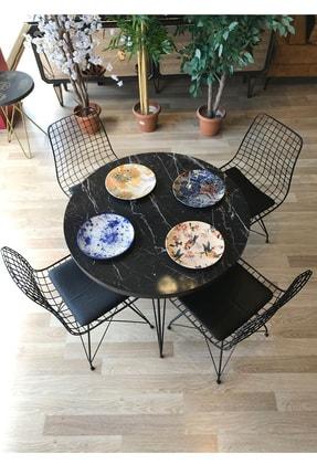 TE-HOME Mutfak Masası Yuvarlak + 4 Sandalye Siyah Mermer Çap 90