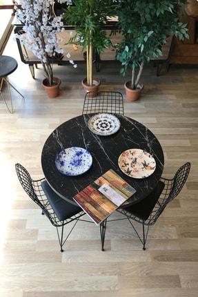 TE-HOME Balkon Masası Yuvarlak + 3 Sandalye Siyah Mermer Çap 90