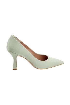 LuviShoes 376 Su Yeşili Topuklu Kadın Ayakkabı