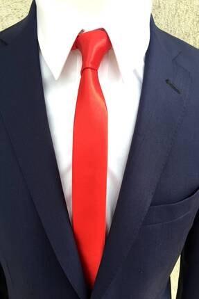Kravatistan Kırmızı 4 cm Süper Slim Saten Kravat