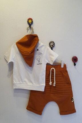 RG Erkek Bebek Kiremit Rengi 6-36 Ay Filozof Baskılı Üçlü Takım