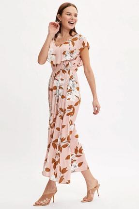 DeFacto Kadın Pembe Çiçek Desenli Fıfırlı Dokuma Elbise R1740AZ.20SM.PN332