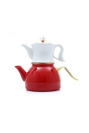 Dufy Emaye Porselen Çaydanlık Seti -kırmızı