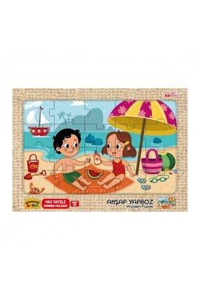 Wooden Toys Yaz Tatili Temalı Ahşap 3mm Mdf Puzzle 20 Parça  20 Cm * 30 Cm