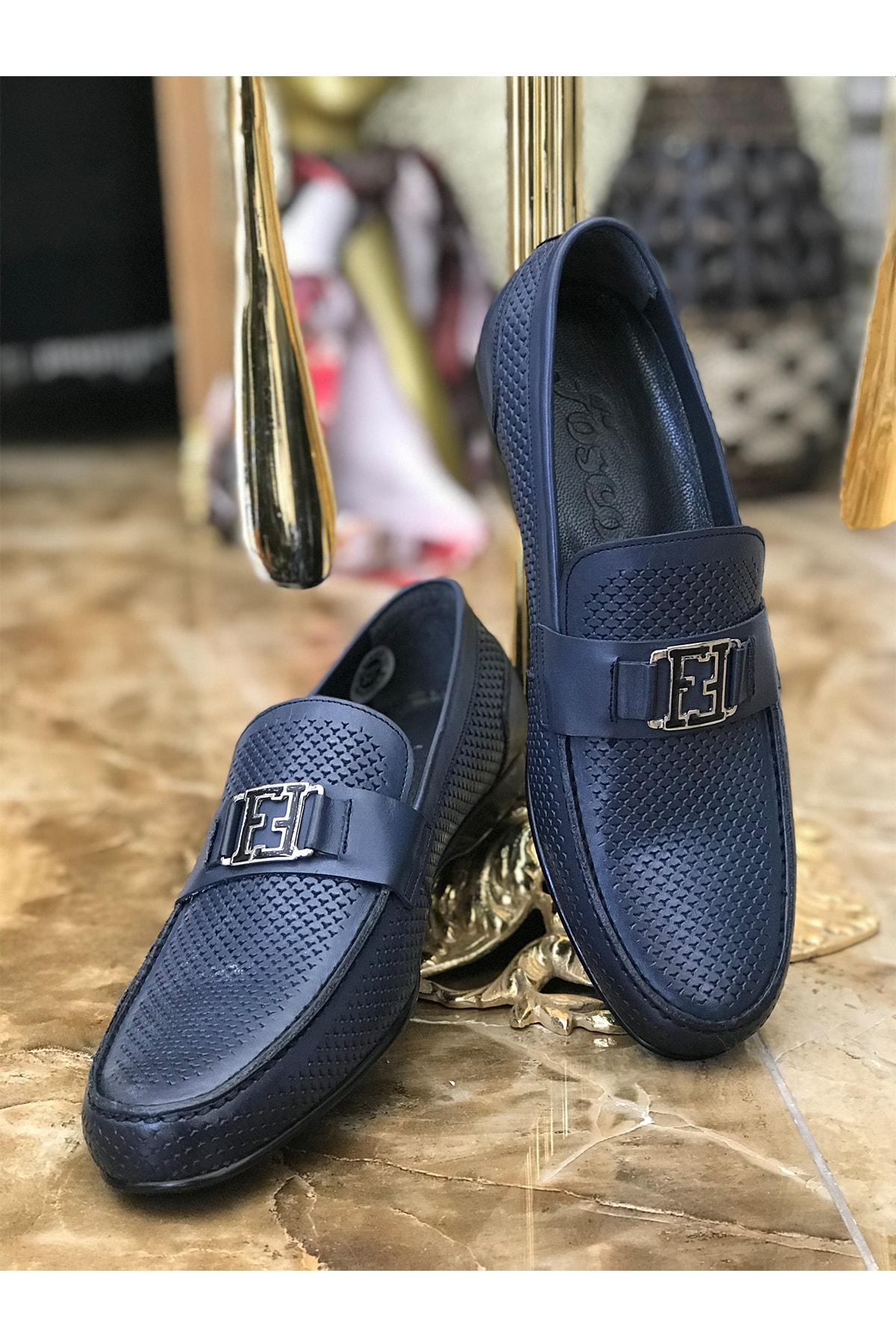 Fosco Erkek Mavi Hakiki Deri Ayakkabı 1