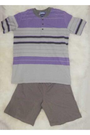 Haluk Bayram Baha 2361 Çizgili Şortlu Erkek Pijama Takımı Lila