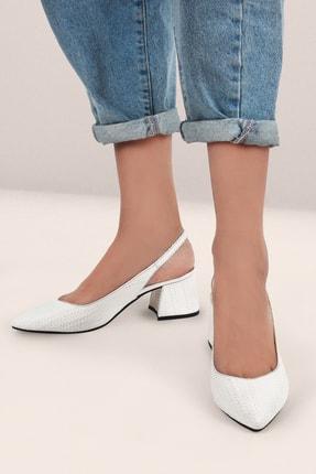 Gökhan Talay Beyaz Baskılı Kadın Topuklu Arkası Açık Ayakkabı