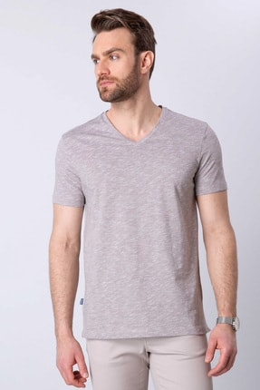 Pierre Cardin Erkek Vizon Slim Fit V Yaka T-Shirt