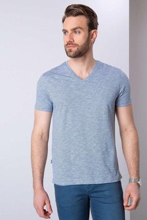 Pierre Cardin Erkek Mavi Slim Fit V Yaka T-Shirt