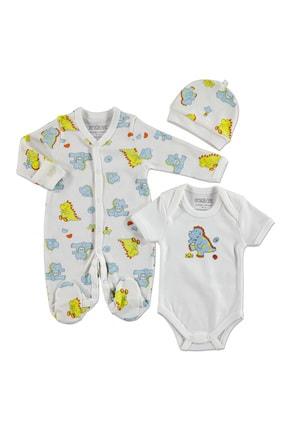 HelloBaby Erkek Bebek Dinazor İnterlok Uzun Kol Patikli Bebe Yaka 3'lü Tulum-Body-Şapka