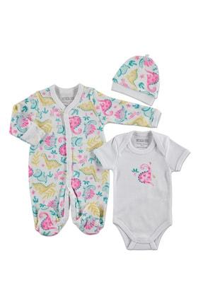 HelloBaby Kız Bebek Dinazor İnterlok Uzun Kol Patikli Bebe Yaka 3'lü Tulum-Body-Şapka