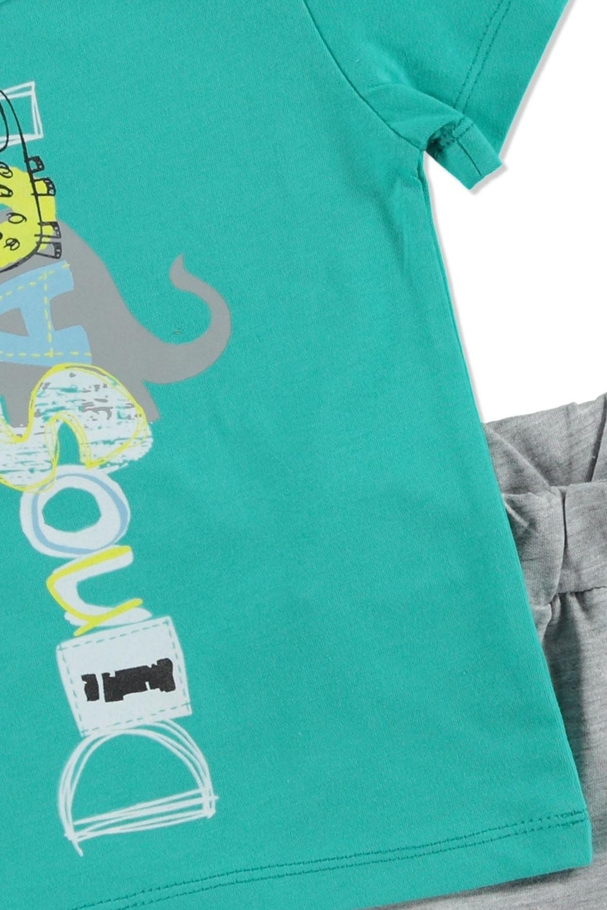 HelloBaby Yaz Erkek Bebek Küçük Dinozor Tema Tshirt-Şort Takım 2