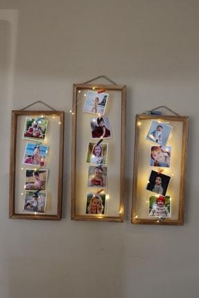 Wooden City 3'lü Fotoğraf Çerçevesi Ipli, Işıklı Mandallı Bebek Ve Çocuk