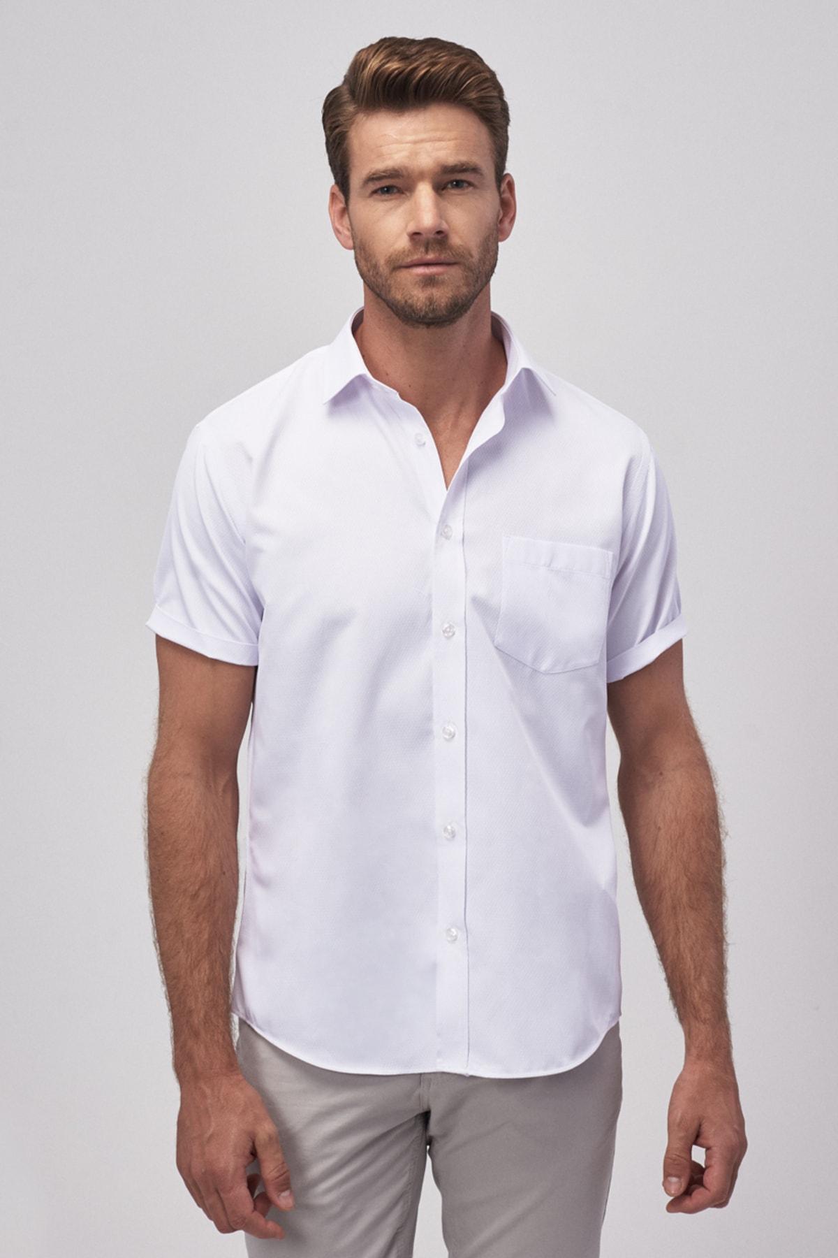 ALTINYILDIZ CLASSICS Erkek Beyaz Regular Fit Kısa Kollu Gömlek 2