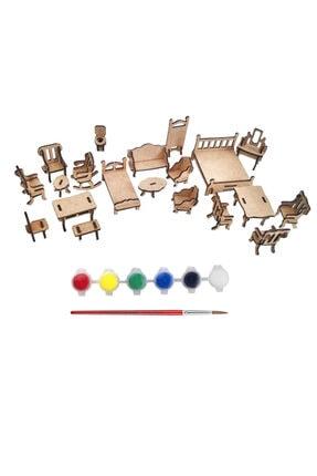 Tahtakurusu Tasarım Minyatür Ev Eşyaları Boyama Seti