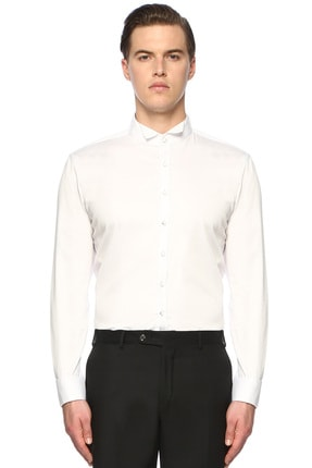 Network Erkek Slim Fit Beyaz Gömlek 1072049