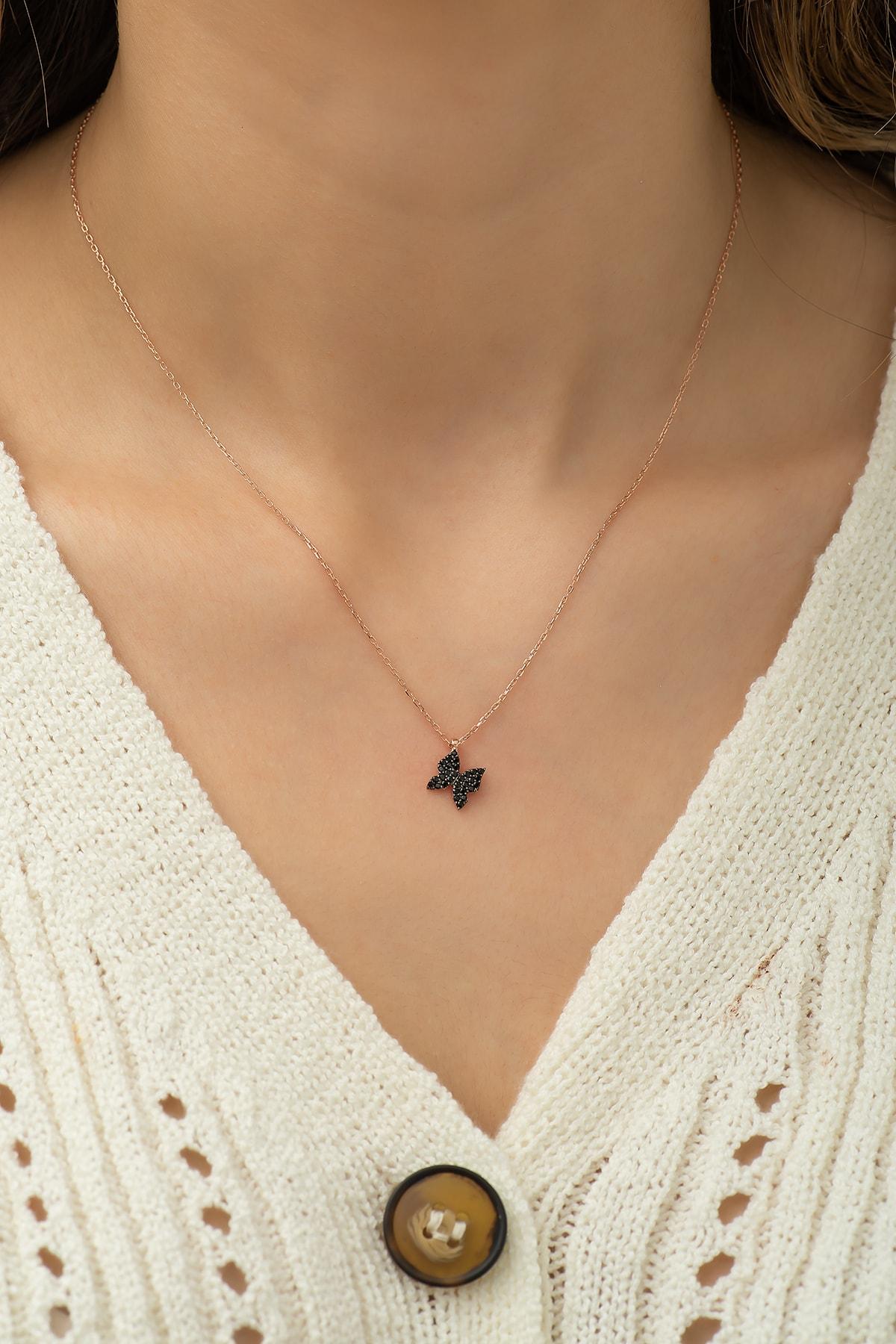 Nereze 925 Ayar Siyah Minik Kelebek Kolye Kadın Gümüş Kolye 2