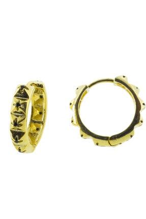 exist silver 925 Ayar Gümüş Siyah Swarovski Taşlı Altın Kaplama Sarı Küpe