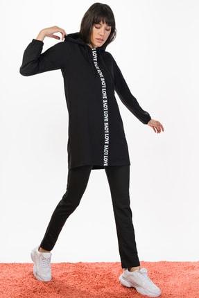 Runever Kadın Siyah Love Tunik Takım
