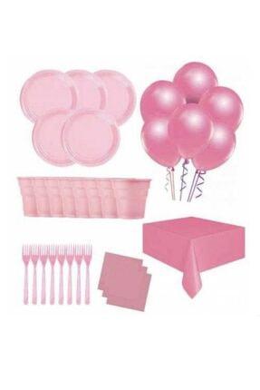 Roll-Up 25 Kişilik Ekonomik Pembe Konseptli Doğum Günü Parti Seti - Doğum Günü Parti Malzemeleri