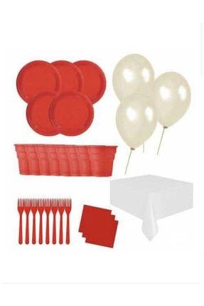 Roll-Up 25 Kişilik Ekonomik Kırmızı Konsept Doğum Günü Parti Seti - Doğum Günü Parti Malzemeleri