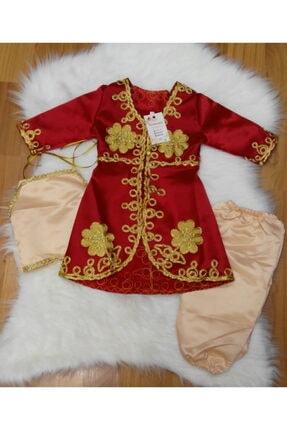 Bebek Bindallı Kırmızı Kız Çocuk Elbise