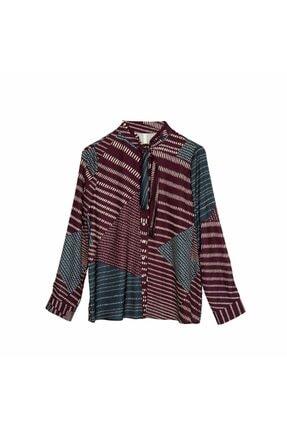 Yargıcı Kadın Mürdüm Bağlama Yakalı Gömlek 8KKGM6116X