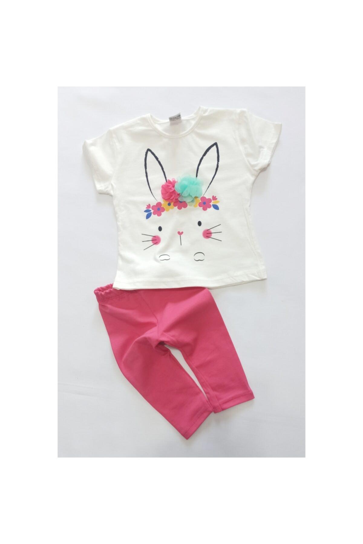 Crazy Baby Süslü Tavşan Kız Bebek Kapri Tişört Alt Üst Takım 1-2-3 Yaş 1
