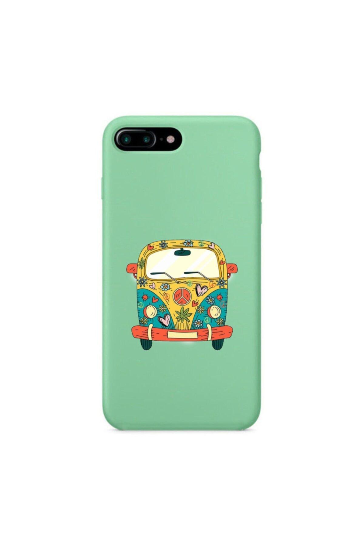 mooodcase Iphone 7 Plus Premium Lansman Pastel Mint Yeşil Telefon Kılıfı Peace Desenli 1