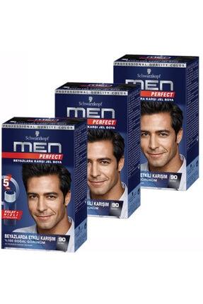 SCHWARZKOPF HAIR MASCARA 3'lü Siyah Men Perfect 90