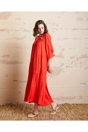 SERPİL Kadın Koral Broş Detaylı Volanlı Elbise 32098