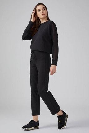 Gusto Kadın Siyah Beli Lastikli Yanı Şifon Garnili Sweat Pantolon 20KGN09003