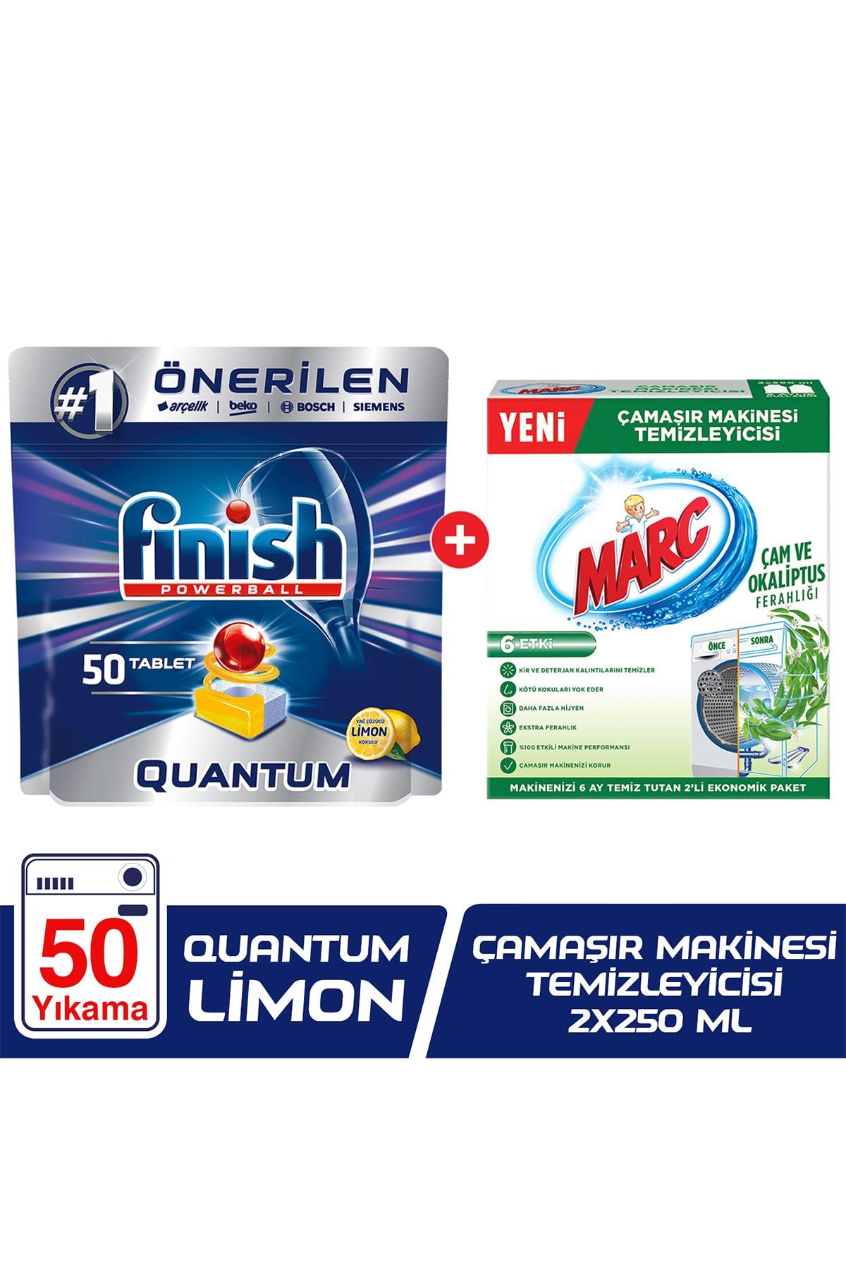 Finish Quantum 50 Bulaşık Makinesi Deterjanı Limon+Çamaşır Makinesi Temizleyici Çam ve Okaliptus Ferahlığı 1