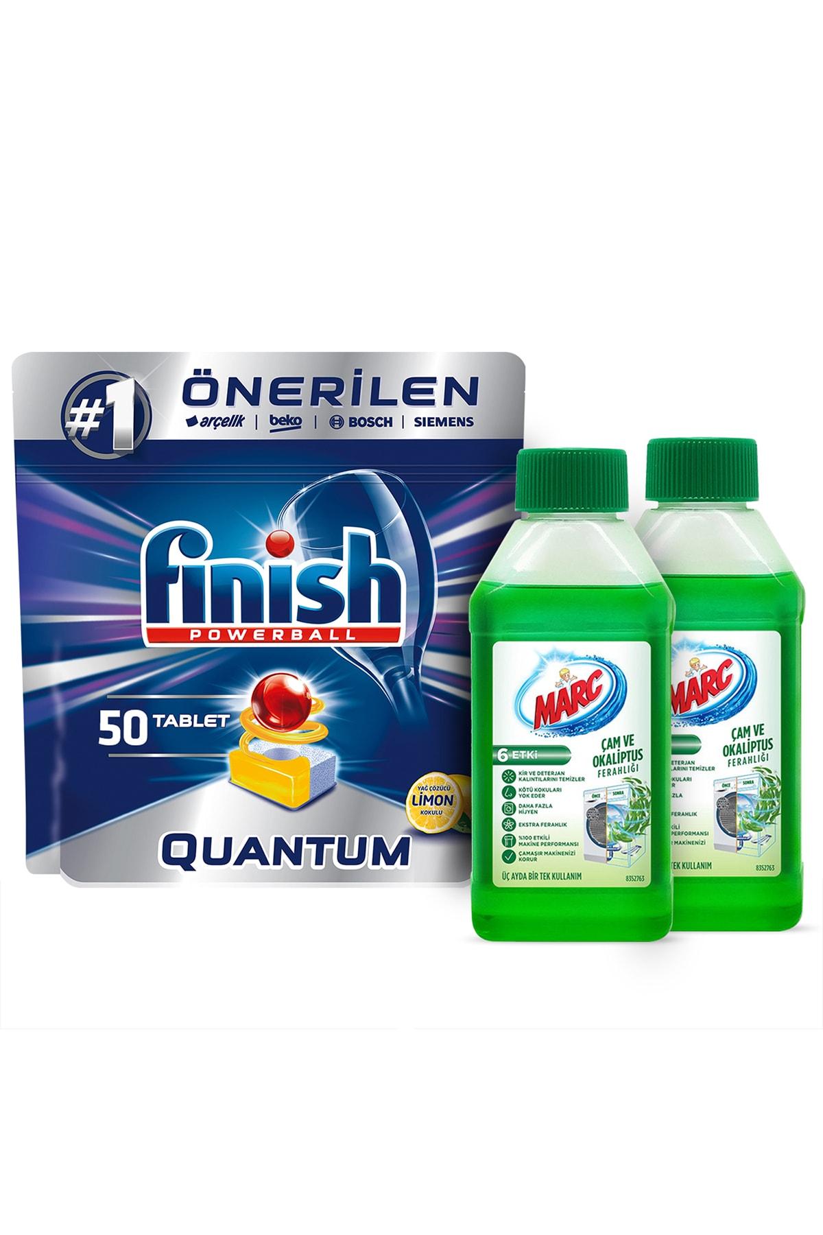 Finish Quantum 50 Bulaşık Makinesi Deterjanı Limon+Çamaşır Makinesi Temizleyici Çam ve Okaliptus Ferahlığı 2