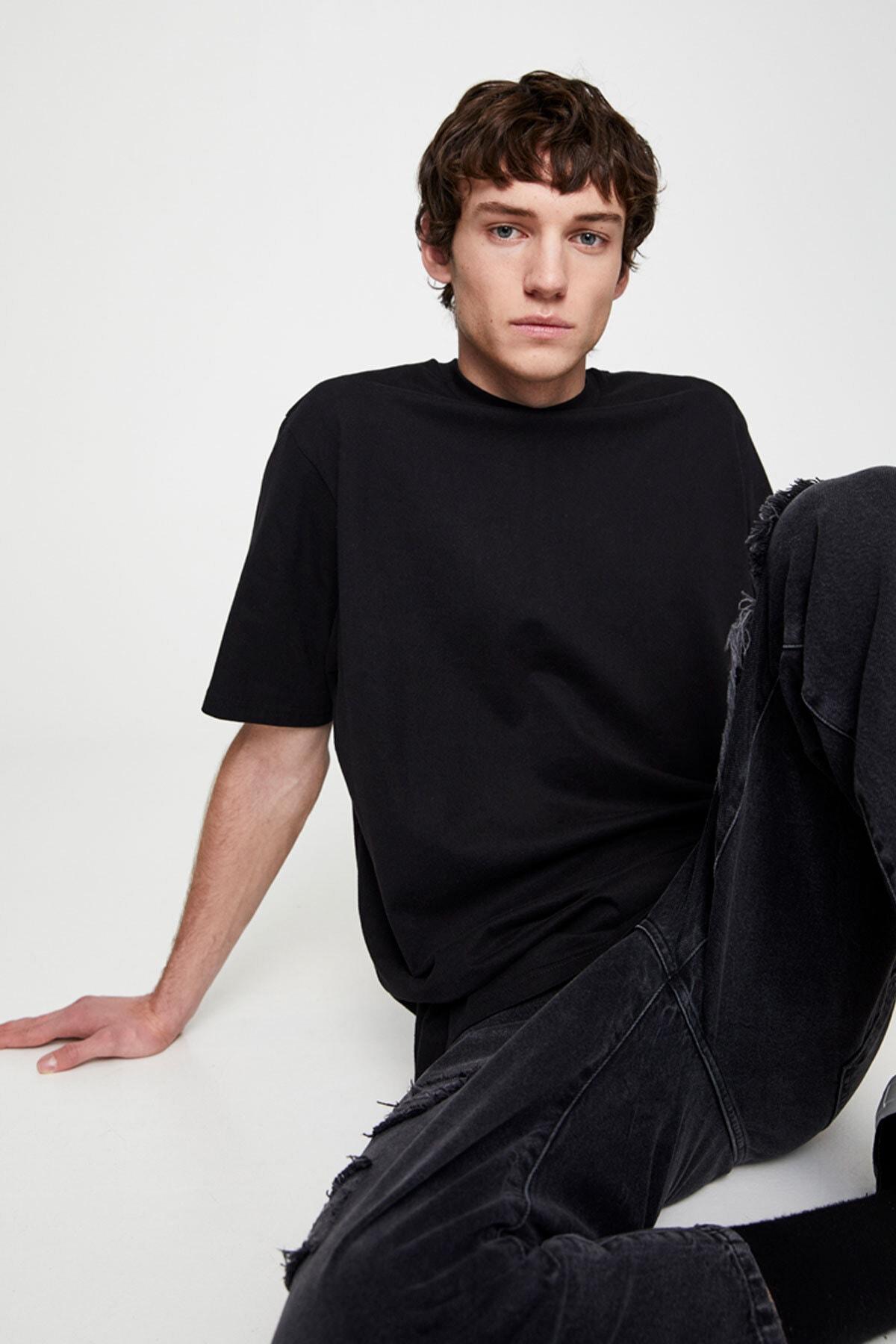 Pull & Bear Erkek Siyah Join Life Basic T-Shirt 09244500