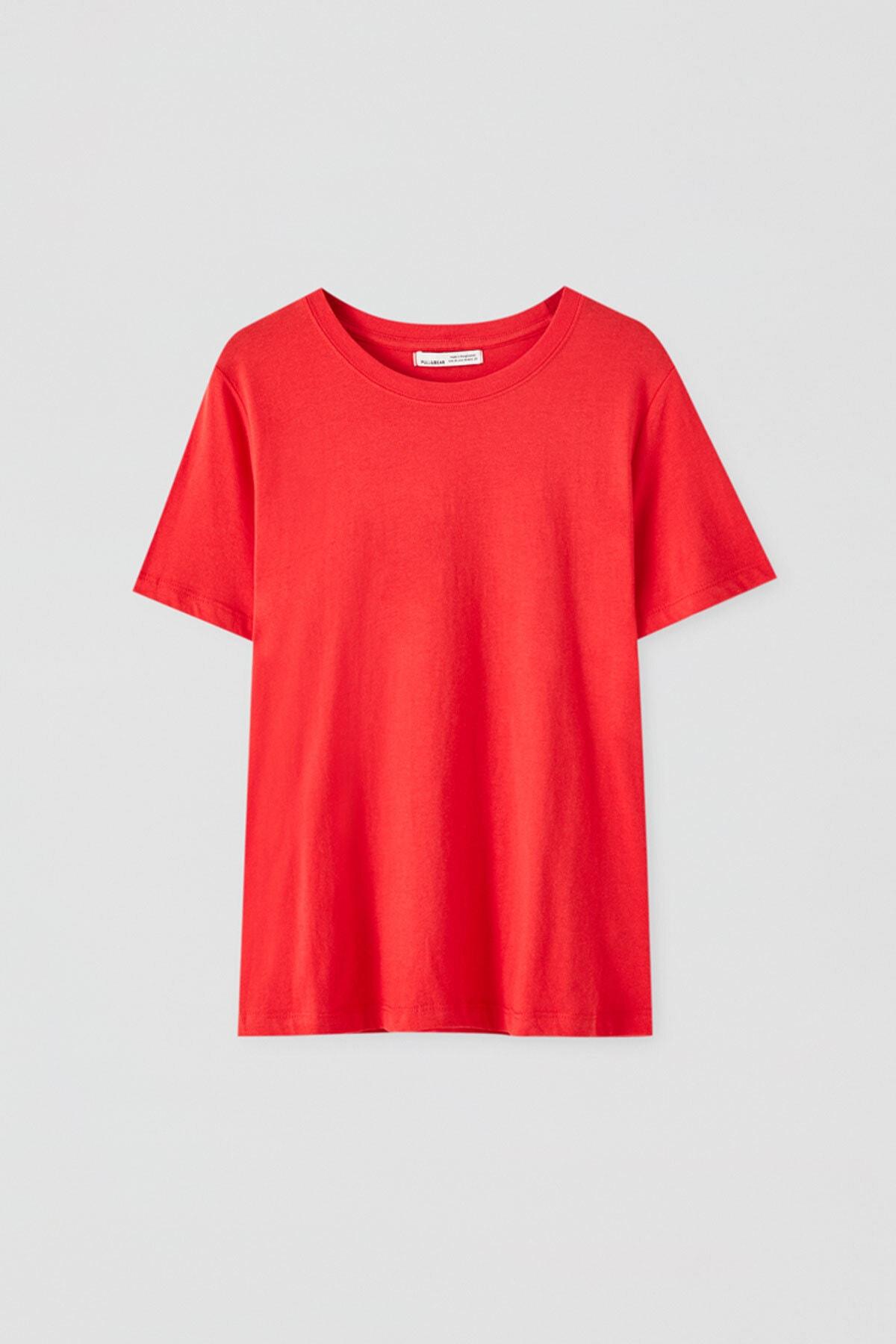Pull & Bear Kadın Kırmızı Kısa Kollu Basic T-Shirt 05244357 1