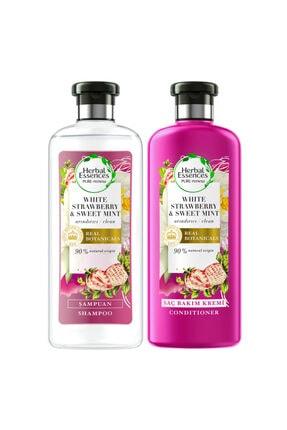 Herbal Essences Şampuan Beyaz Çilek Ve Tatlı Nane 400 ml+Saç Bakım Kremi 360 ml 8681002980655