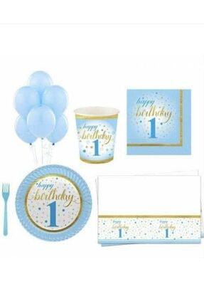 Roll-Up 1. Yaş Doğum Günü Konsept Seti 16 Kişilik Mavi 91 Parça
