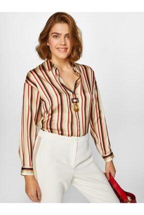 Faik Sönmez Kadın Multi Çizgili Saten Gömlek 60362 U60362