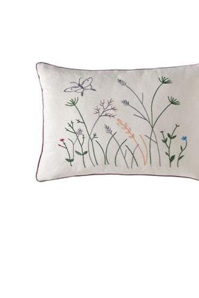Yataş Bedding Alda Çiçekli Dekoratif Yastık - Ekru