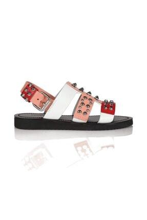 Sofia Baldi Bice Kırmızı Deri Pimli Kadın Düz Sandalet