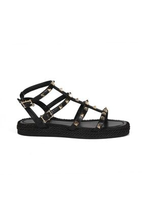 Sofia Baldi Cıclamıno Siyah Deri Pimli Kadın Düz Sandalet