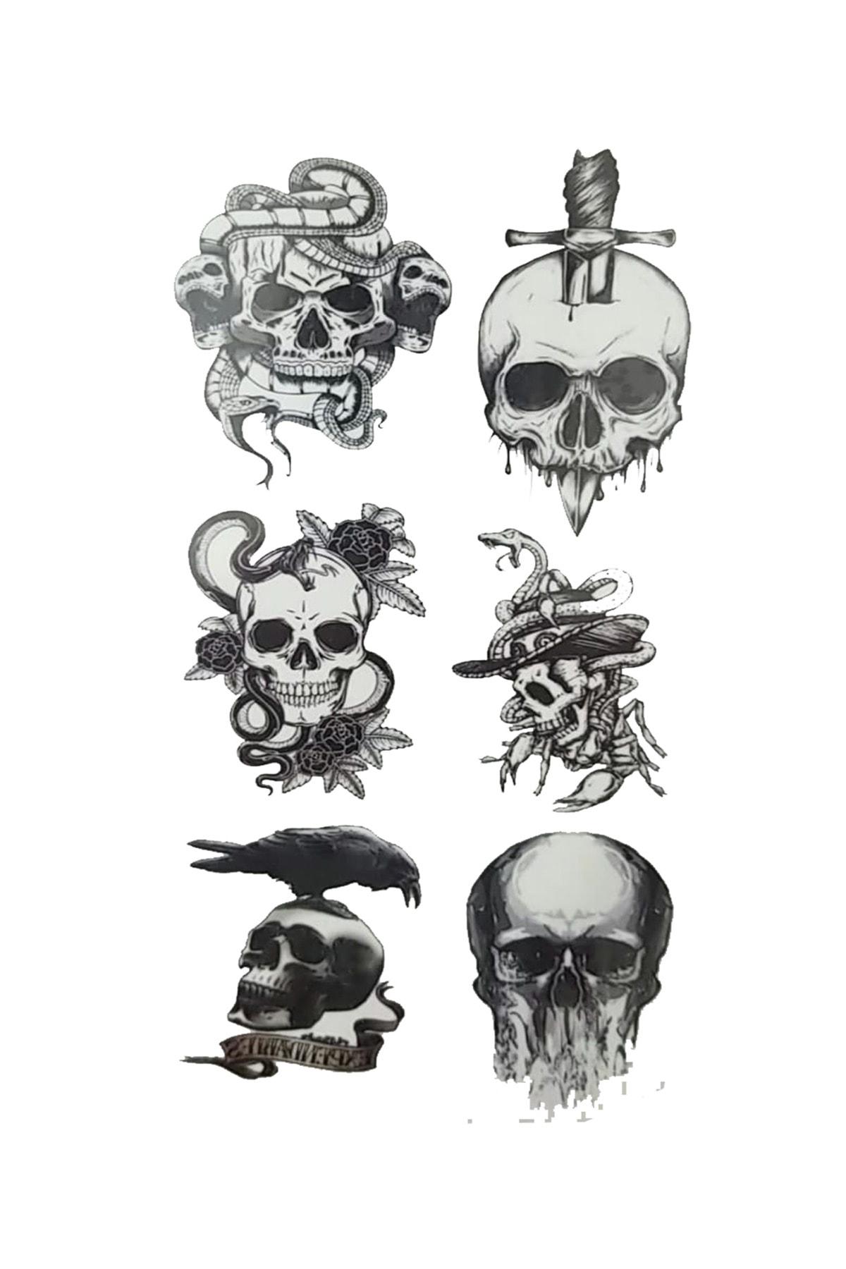 Parti dolabı Tattoo Geçici Dövme Kuru Kafa 1