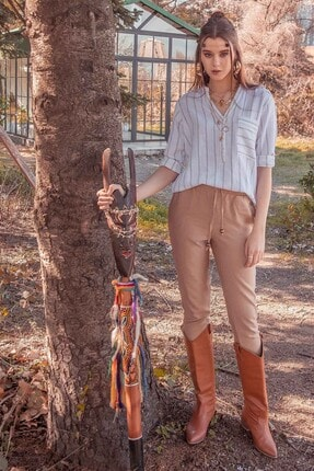 Manche Koyu Bej Kadın Pantolon   66-1000