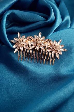 BAHELS Kadın Gümüş Renk Üç Çiçekli Kristal Taşlı Lüx Model Saç Tokası Tarak Toka
