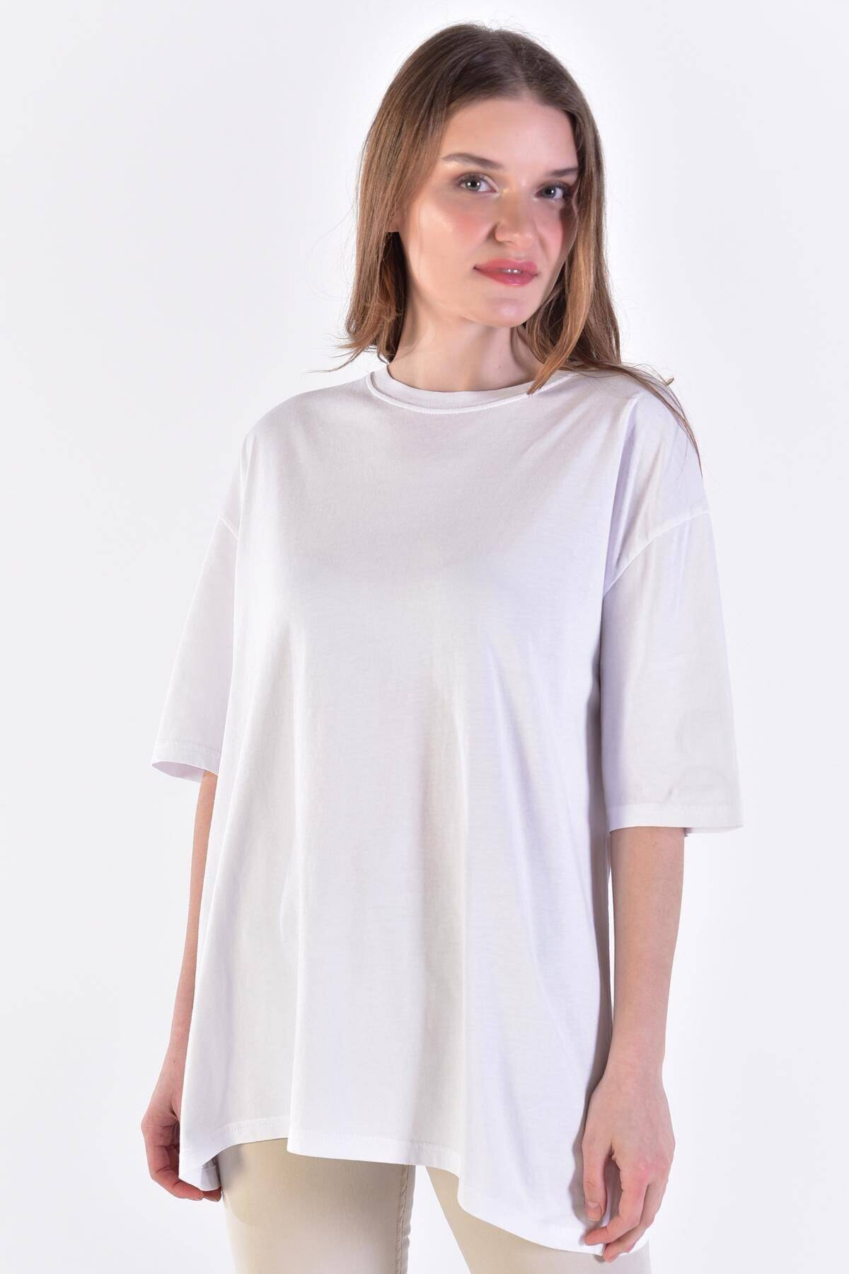 Addax Kadın Beyaz Basic Tişört P0911 - D10 ADX-0000022133 2