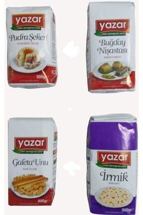 YAZAR Irmik+galeta Unu+pudra Şekeri+buğday Nişastası Seti 4adet