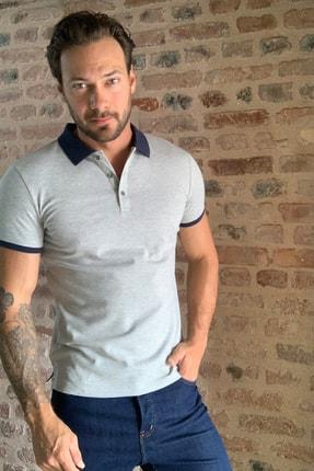 TRENDYOL MAN Gri Erkek  Kontrast Yakalı Slim Fit  Polo Yaka T-Shirt TMNSS20PO0141