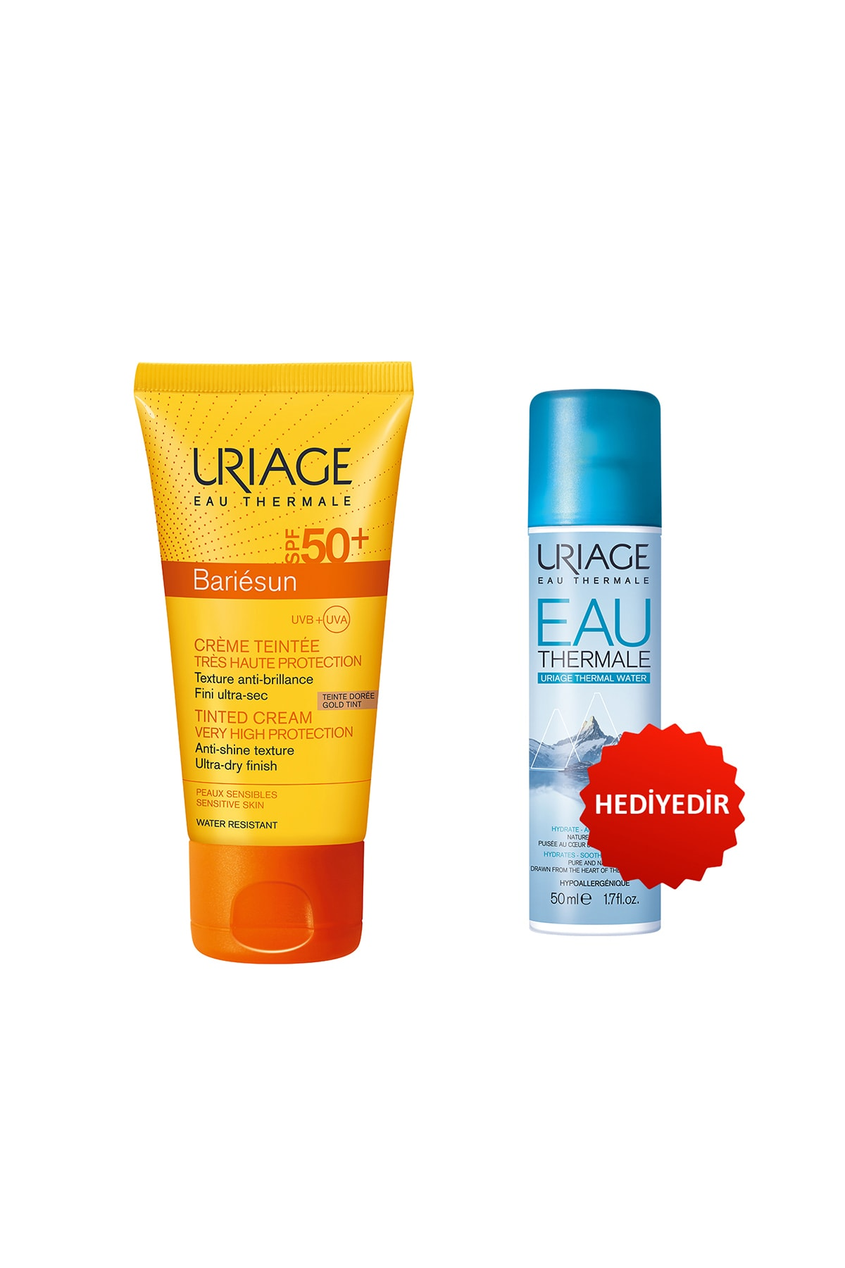 Uriage Bariésun Spf50+ Cr Doree T 50 ml (Renkli Güneş Koruyucu) + Eau Thermale D Uriage Sp 50 ml